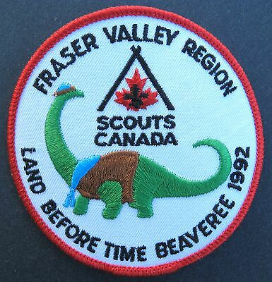 Boy Scouts Canada Fraser Valley B.c. 1992 Embroidered Patch Regional Beaveree