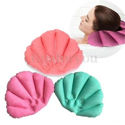 Bathroom Inflatable Bath Pillow Back Neck Cushion 2 Suction Cups Shell Relaxing