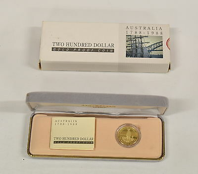 1988 Australian $200 Gold Proof Coin with Box