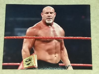 GOLDBERG WWE PHOTO 8x10 WRESTLING PROMO WITH RAW HEAVYWEIGHT TITLE BELT