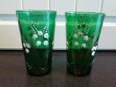 Pair of Victorian Hand Painted Green Glass tumblers 19th Century Glasses