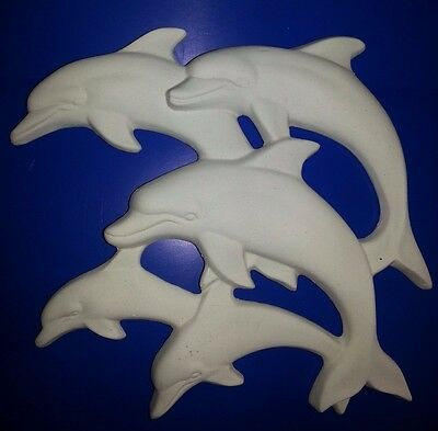 "Ceramic Bisque Dolphin Plaque. 11""/270mm approx. To glaze or paint."