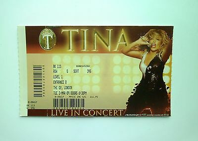 TINA TURNER MEMORABILIA - Ticket Stub The O2 Arena London 03/03/09