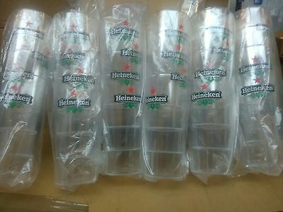 JOBLOT 48 X Heineken reusable plastic premier pint drinking glasses new