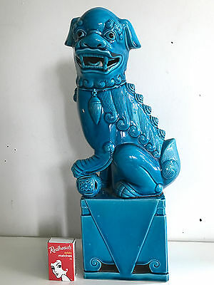 Enormous 36 cms Blue Glaze Foo Dog