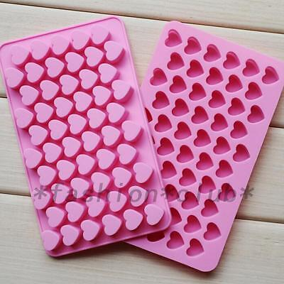 Pink 55PCS Mini Hearts Ice Cube Candy Chocolate Cake Cookie Cupcake Soap Molds