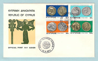CYPRUS 1977 ANCIENT COINS OF CYPRUS ARCHAEOLOGY Set of 4v.NICE OFFICIAL FDC