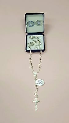 Virgin Mary Sterling Silver 925 Necklace Rosary-Blessed by Pope on request-ITALY
