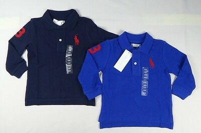 Ralph Lauren Boys' Long  Sleeve Cotton Polo Shirt Top sizes 6,9 12,18, 24 months