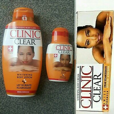 CLINIC CLEAR BODY CARE LOTION 500ML, TUBE CREAM 50g & OIL 125ML  (SWISS FORMULA)