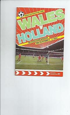 Wales v Holland at Wrexham  Football Programme 1989