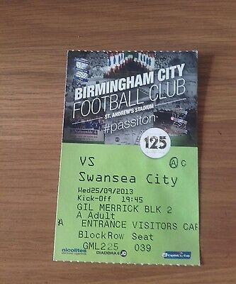 Birmingham City V Swansea City Used Ticket League Cup Rnd 3 25Th September 2013