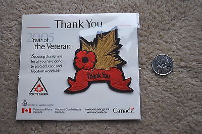 Scouts Canada Patch Badge Year Of The Veteran 2005 Legion Poppy Appx 3 X 3 Inch.