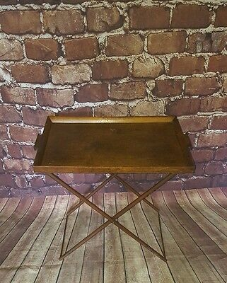 Antique Edwardian Folding Wooden Servants Butlers Serving Table Tray Tea Dinner
