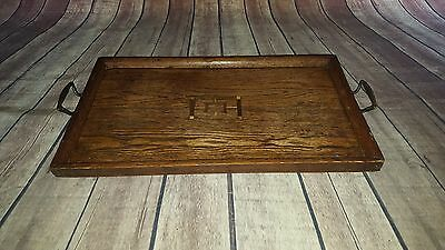 Antique Vintage Old Wooden Butlers Servants Serving Tea Dinner  Tray