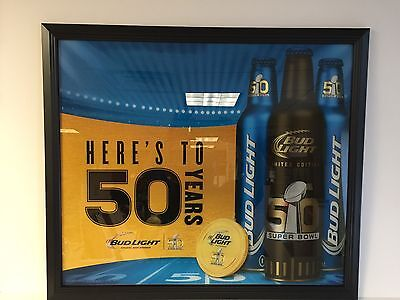 "Bud Light Superbowl 50 Mirror Here's To Denver Broncos ~ 29.5"" X 25.5"" ~ NEW F/S"