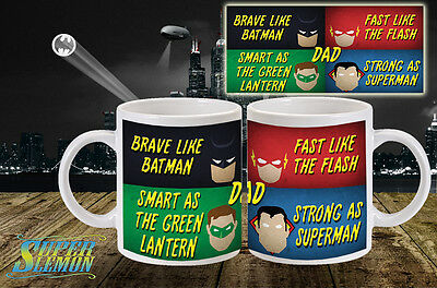 fathers day mug super hero dad daddy gift present D.C dc father grand cup .