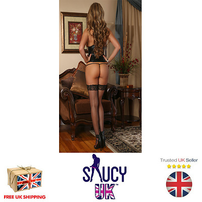 Exposed - Liquid Onyx Cupless Corset & G String. Plus Size - UK SELLER
