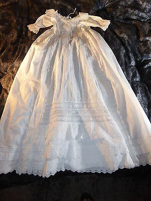 Joyful Antique Christening Gown with Cutwork & Handmade Bobbin Lace, c1860s