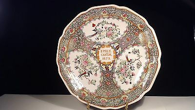 """Rare 14K Gilded Chinese Export Porcelain Emily Canton 1879 12"""" Charger Platter"""