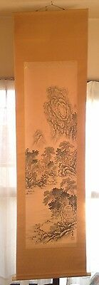 Japanese Hanging Scroll Kakejiku  Tree  Mountain Classic Painting Art