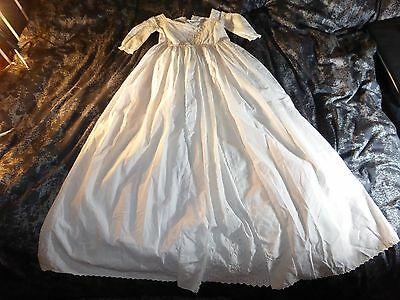 Beautiful Antique Christening Gown with Cutwork & Drawn Thread Lace, c1830s