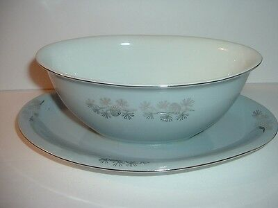 Vintage Japan Seyei Silvery Grey Pinecone Pattern Gravy with Underplate