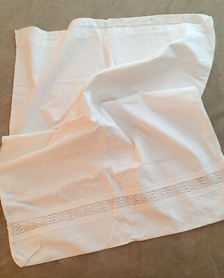 """2 HUGE ANTIQUE Euro SHAMS Large PILLOWCASES with INSERTION LACE 36"""" x 31"""""""