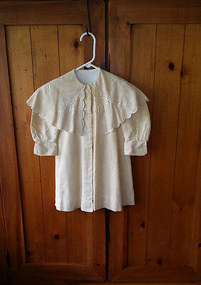 VINTAGE 1930's Lined Spring COAT for Child Large DOLL w/ EMB Shawl SILK SHANTUNG