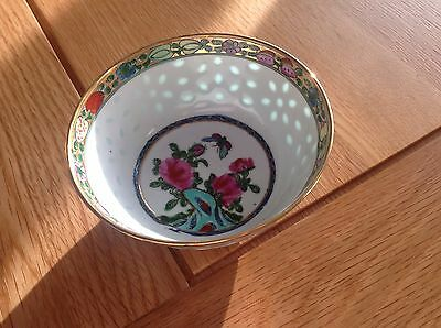"Vintage Small Delicate Chinese ""Rice Grain"" Porcelain Pretty hand Painted Bowl."