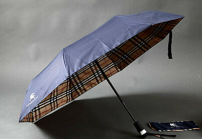 BURBERRY Umbrella Blue/Beige Canopy Lining Nova Check folding!!