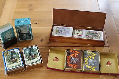 Vintage / Modern Playing Cards Plus Wooden Box Complete All Packs Included