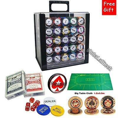 1000PCS Deluxe Poker Chips Set Case Texas Holdem 14g Clay Wheat With Acrylic Box