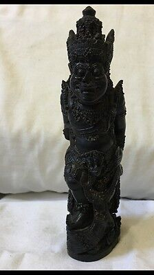 Rare An Antique Burmese Profusely Hand Carved Deity Figure .