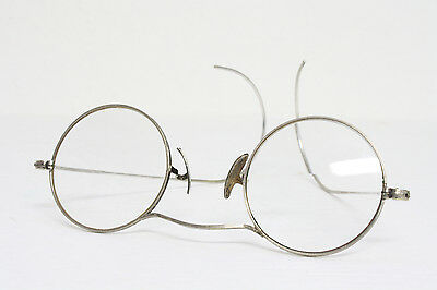 ANTIQUE Round Windsor Wire Steampunk Metal Eyeglasses vtg AO silver lennon frame