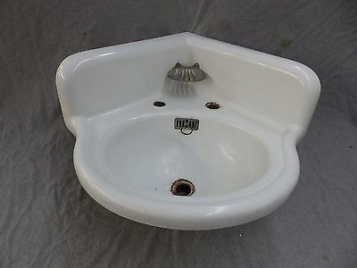 Antique Cast Iron White Porcelain Corner Bath SInk Old Standard Vintage 422-17E