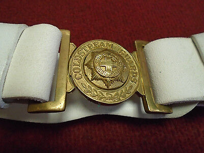 Coldstream Guards White Leather Ceremonial Belt With Brass Buckle British Army