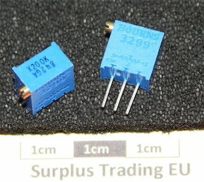 "Bourns 3299W 3/8"" Square 200KΩ Vertical Trimpot Preset Resistor"