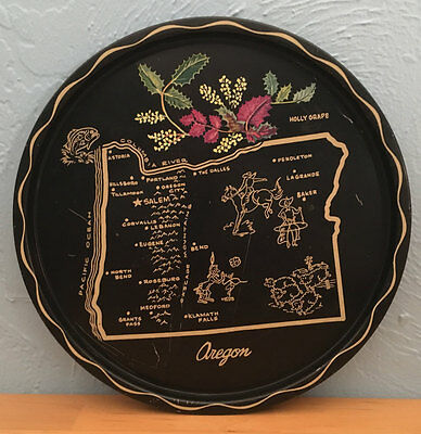 Vintage State of Oregon Souvenir Tray Black Metal Travel Holly Grape Beaver