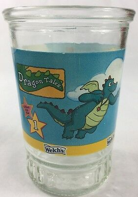 Welch's Jelly Jar Glass Dragon Tales #1 Flying with Dragons  Bama Cartoon Movie