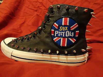 SEX PISTOLS Punk Rock Band CUSTOM STUDDED Converse shirt Sneakers SHOES w SPIKES