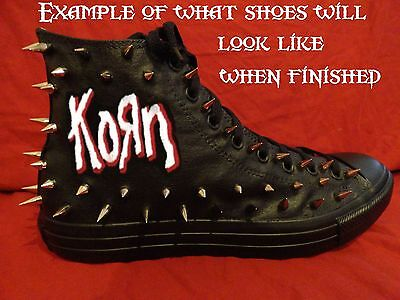 KORN Metal Punk Rock Band CUSTOM STUDDED Converse shirt Sneakers SHOES w SPIKES