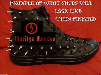 MARILYN MANSON Metal Rock CUSTOM STUDDED Converse shirt Sneakers SHOES w SPIKES