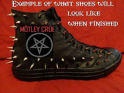 MOTLEY CRUE Metal Punk CUSTOM STUDDED Converse Chuck shirt Sneakers SHOES SPIKES