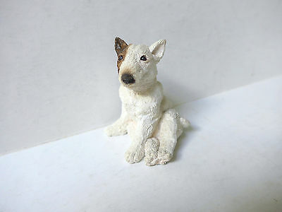 Bull Terrier White Brindle English Statue Figurine Miniature Dogs Pets