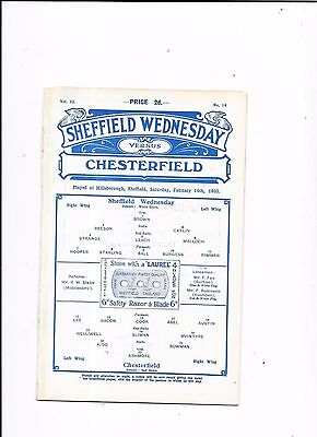 Sheffield Wednesday v Chesterfield FA Cup 3rd Round 14/1/1933