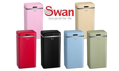 Swan 45L Retro Sensor Activated Square Waste Bin with Two-Year Guarantee - New!