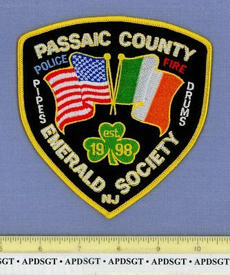 PASSAIC EMERALD SOCIETY NEW JERSEY Sheriff Police Patch IRISH CLOVER PIPES DRUMS