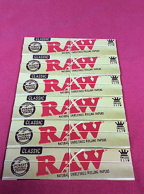 6x Packs 32 Sheet RAW King Size Slim 110mm Rolling Papers Organic Unrefined Hemp
