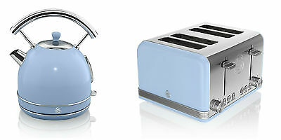 NEW Swan Kitchen Appliance Retro 1.7L BLUE Dome Kettle & 4 Slice Toaster Set